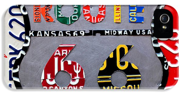 Road iPhone 5 Cases - Route 66 Highway Road Sign License Plate Art iPhone 5 Case by Design Turnpike
