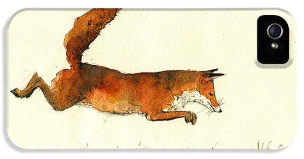 Fox iPhone 5 Cases - Running fox iPhone 5 Case by Juan  Bosco