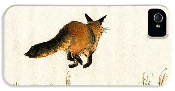 Fox iPhone 5 Cases - Running fox painting iPhone 5 Case by Juan  Bosco