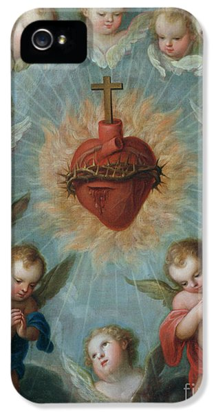 Sacred Heart Of Jesus Surrounded By Angels IPhone 5 / 5s Case by Jose de Paez