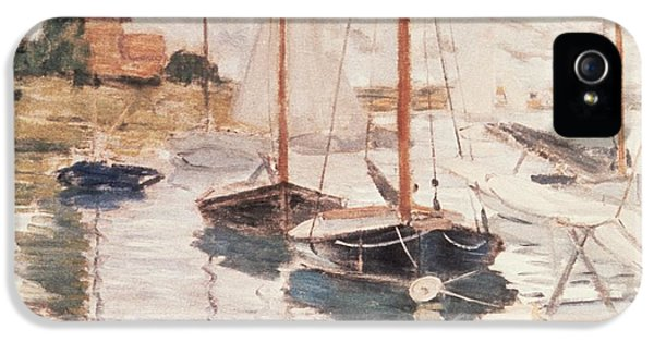 Boats iPhone 5 Cases - Sailboats on the Seine iPhone 5 Case by Claude Monet