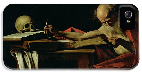 Cell iPhone 5 Cases - Saint Jerome Writing iPhone 5 Case by Caravaggio