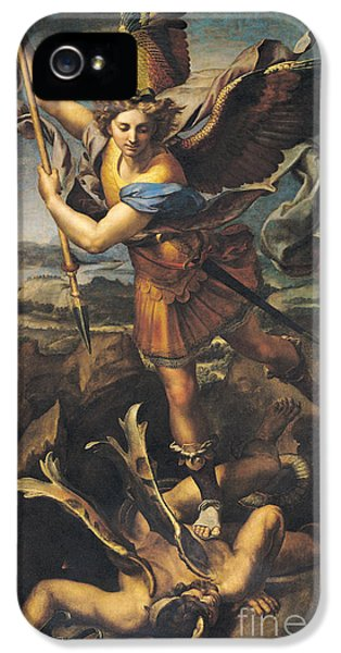Saint Michael Overwhelming The Demon IPhone 5 / 5s Case by Raphael