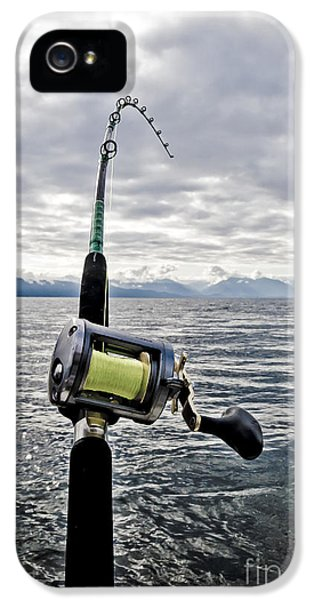 Fishing iPhone 5 Cases - Salmon Fishing Rod iPhone 5 Case by Darcy Michaelchuk