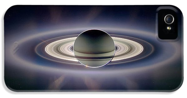 Solar System iPhone 5 Cases - Saturn Silhouetted, Cassini Image iPhone 5 Case by Nasajplspace Science Institute