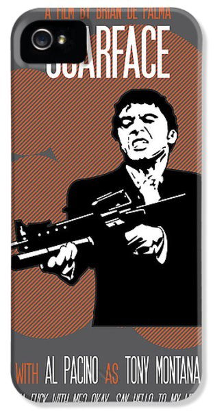 Oliver Stone iPhone 5 Cases - Scarface Say Hello to My Little Friend iPhone 5 Case by Florian Rodarte