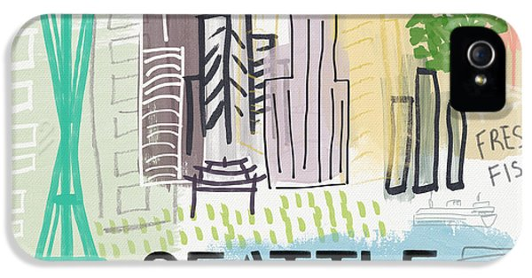 Seattle Cityscape- Art By Linda Woods IPhone 5 / 5s Case by Linda Woods
