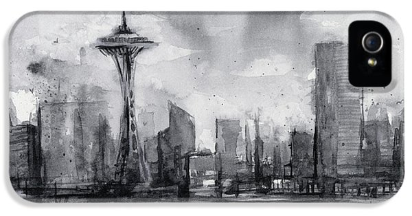 Seattle Skyline Painting Watercolor  IPhone 5 / 5s Case by Olga Shvartsur