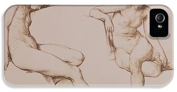Sepia Drawing Of Nude Woman IPhone 5 / 5s Case by William Mulready