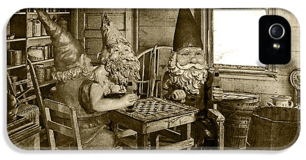 Checker Board iPhone 5 Cases - Sepia Toned Garden Gnomes Playing Checkers iPhone 5 Case by Randall Nyhof
