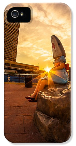 Casey iPhone 5 Cases - Shark Girl Dawn - Square iPhone 5 Case by Chris Bordeleau