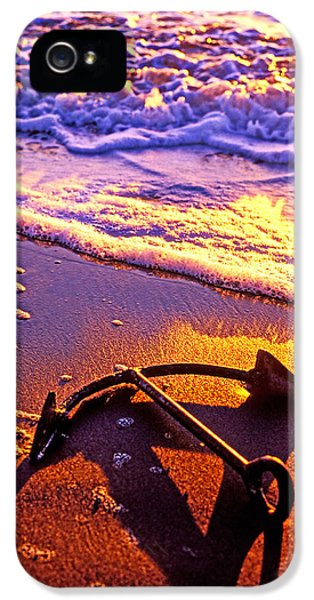 Ship iPhone 5 Cases - Ships anchor on beach iPhone 5 Case by Garry Gay