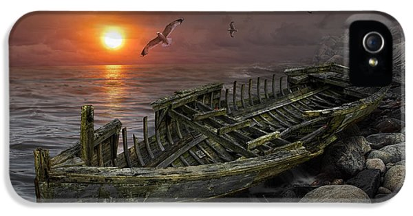 Destructed iPhone 5 Cases - Shipwreck at Sunset iPhone 5 Case by Randall Nyhof