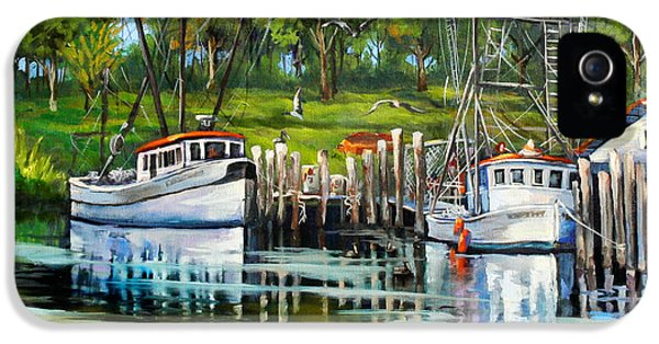 Bayou iPhone 5 Cases - Shrimping Boats iPhone 5 Case by Dianne Parks