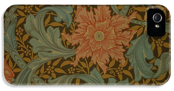 Arts And Crafts Movement iPhone 5 Cases - Single Stem wallpaper design iPhone 5 Case by William Morris