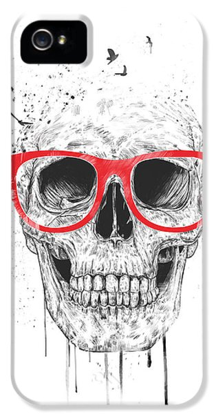 Skulls iPhone 5 Cases - Skull with red glasses iPhone 5 Case by Balazs Solti