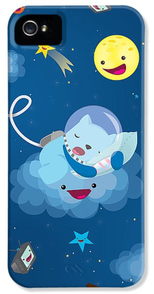 Children iPhone 5 Cases - Sleepy in space iPhone 5 Case by Seedys