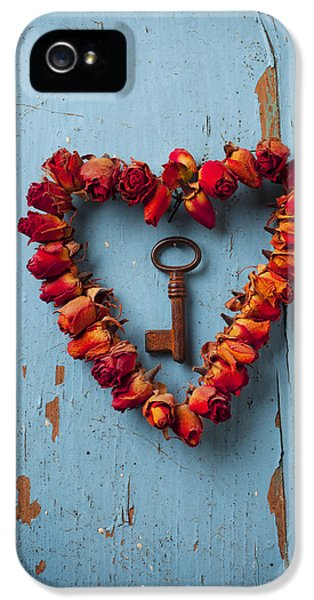Romantic iPhone 5 Cases - Small rose heart wreath with key iPhone 5 Case by Garry Gay