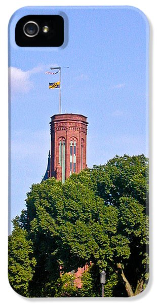 Smithsonian iPhone 5 Cases - Smithsonian Castle Tower Fags Flying iPhone 5 Case by Douglas Barnett