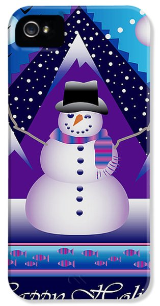 Hanukkah Card iPhone 5 Cases - Snowman Juggler iPhone 5 Case by Nancy Griswold