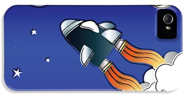Spaceships iPhone 5 Cases - Space travel iPhone 5 Case by Jane Rix