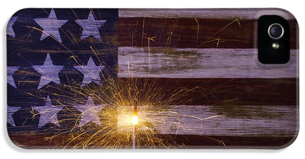 4th Of July iPhone 5 Cases - Sparkler With American Flag iPhone 5 Case by Garry Gay
