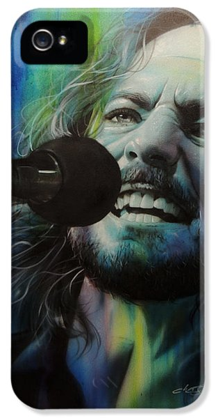 Eddie Vedder - ' Spectrum Of Vedder ' IPhone 5 / 5s Case by Christian Chapman Art