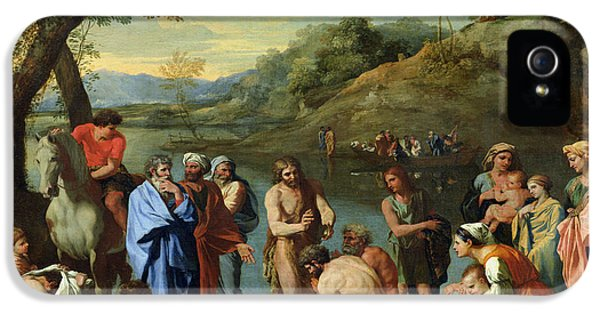 Baptize iPhone 5 Cases - St John Baptising the People iPhone 5 Case by Nicolas Poussin