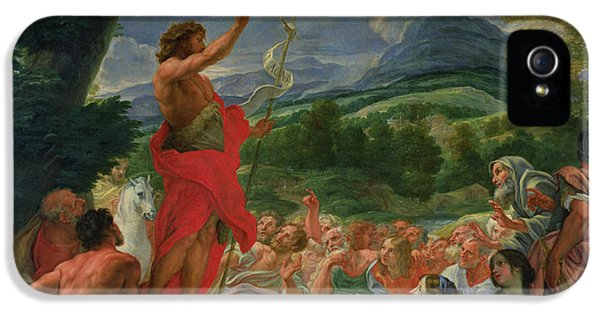 John The Baptist iPhone 5 Cases - St John the Baptist Preaching iPhone 5 Case by II Baciccio - Giovanni B Gaulli