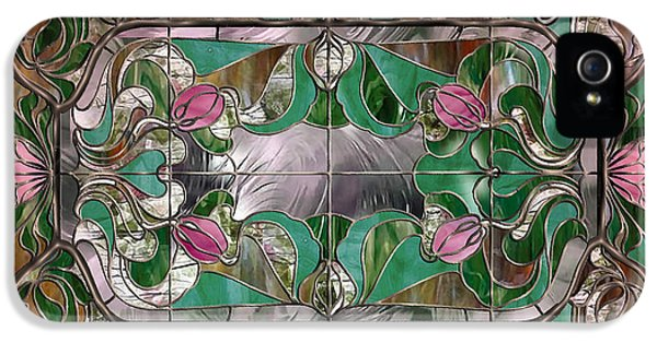 Stained iPhone 5 Cases - Stained Glass Art Nouveau Window iPhone 5 Case by Mindy Sommers