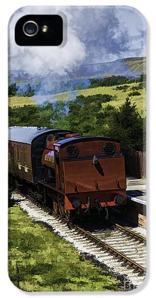 Mech iPhone 5 Cases - Steam Train 2 Oil Painting Effect iPhone 5 Case by Steve Purnell