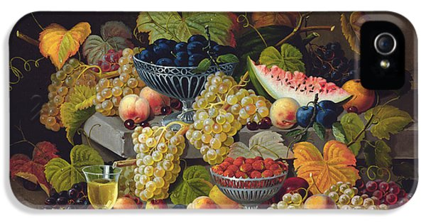 Still Life Of Melon Plums Grapes Cherries Strawberries On Stone Ledge IPhone 5 / 5s Case by Severin Roesen