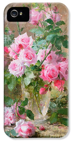 Roses iPhone 5 Cases - Still life of roses in a glass vase  iPhone 5 Case by Frans Mortelmans