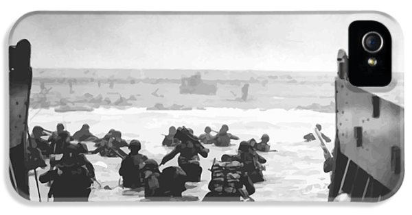 Air Force iPhone 5 Cases - Storming The Beach On D-Day  iPhone 5 Case by War Is Hell Store