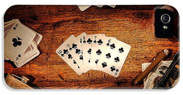 Card iPhone 5 Cases - Straight Flush iPhone 5 Case by Olivier Le Queinec