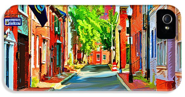 City iPhone 5 Cases - Streetscape in Federal Hill iPhone 5 Case by Stephen Younts