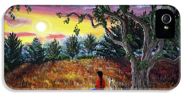 Native American Woman iPhone 5 Cases - Summer Sunset Meditation iPhone 5 Case by Laura Iverson