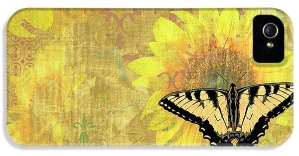Songbird iPhone 5 Cases - Sunflower Butterfly Yellow Gold iPhone 5 Case by JQ Licensing