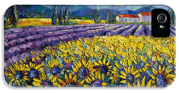 Oil House iPhone 5 Cases - Sunflowers And Lavender Field - The Colors Of Provence iPhone 5 Case by Mona Edulesco