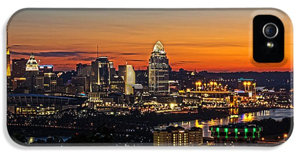 Glowing iPhone 5 Cases - Sunrise over Cincinnati iPhone 5 Case by Keith Allen
