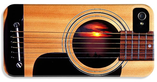 Round iPhone 5 Cases - Sunset in guitar iPhone 5 Case by Garry Gay
