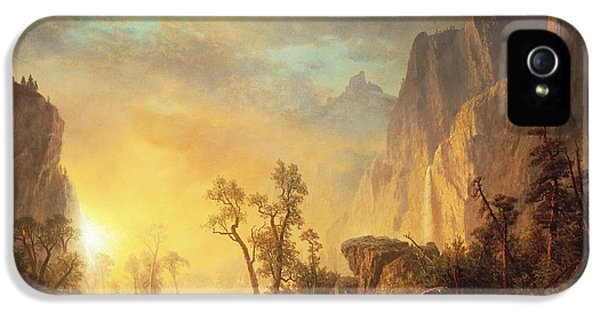 Sunset In The Rockies IPhone 5 / 5s Case by Albert Bierstadt