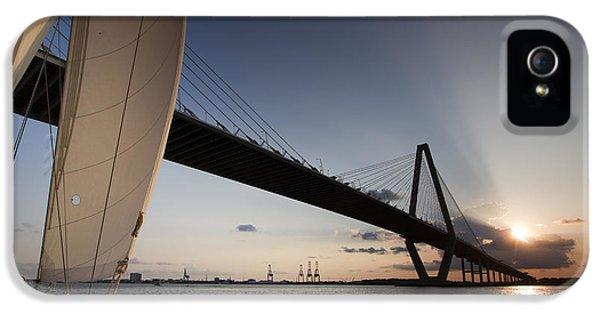 Charleston iPhone 5 Cases - Sunset Over the Cooper River Bridge Charleston SC iPhone 5 Case by Dustin K Ryan