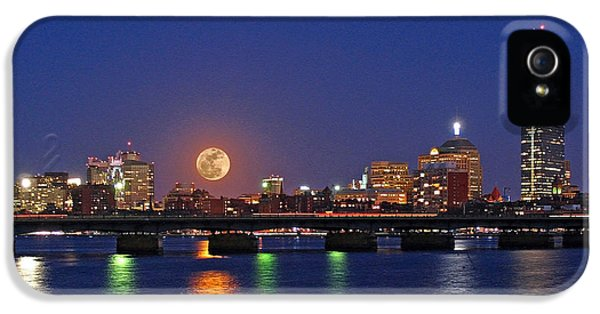 John Hancock Building iPhone 5 Cases - Super Moon over Boston iPhone 5 Case by Juergen Roth
