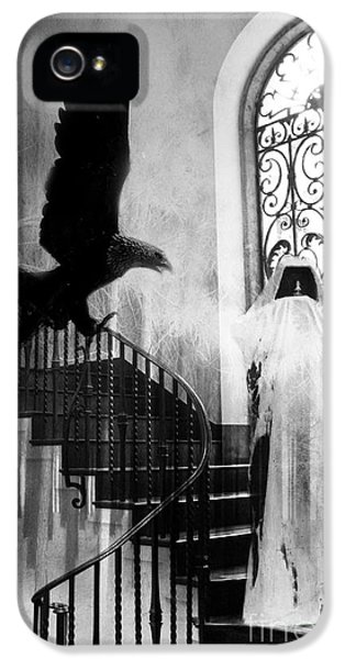 Grim Reaper iPhone 5 Cases - Surreal Gothic Grim Reaper With Eagle Black and White - Halloween Spooky Haunting  iPhone 5 Case by Kathy Fornal