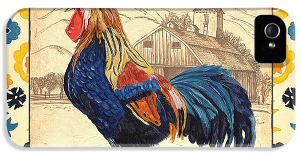 Livestock iPhone 5 Cases - Suzani Rooster 1 iPhone 5 Case by Debbie DeWitt