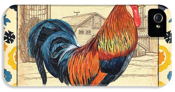 Livestock iPhone 5 Cases - Suzani Rooster 2 iPhone 5 Case by Debbie DeWitt