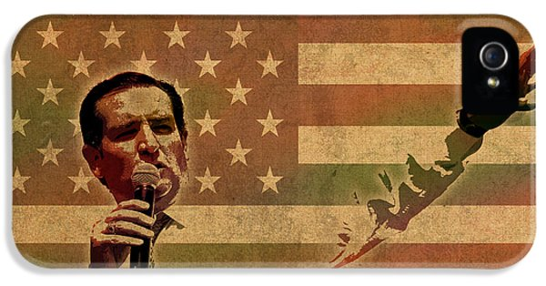 Speech iPhone 5 Cases - Ted Cruz for President Imagine Speech 2016 USA Watercolor Portrait on Distressed American Flag iPhone 5 Case by Design Turnpike