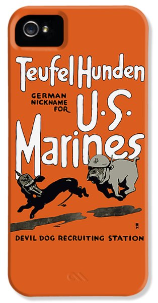 Marine Corps iPhone 5 Cases - Teufel Hunden - German Nickname For US Marines iPhone 5 Case by War Is Hell Store