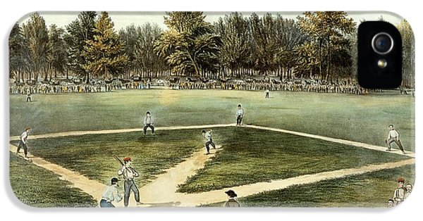 The American National Game Of Baseball Grand Match At Elysian Fields IPhone 5 / 5s Case by Currier and Ives